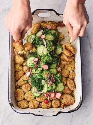 Roast new potato & pickle salad