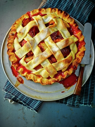 Plum lattice pie
