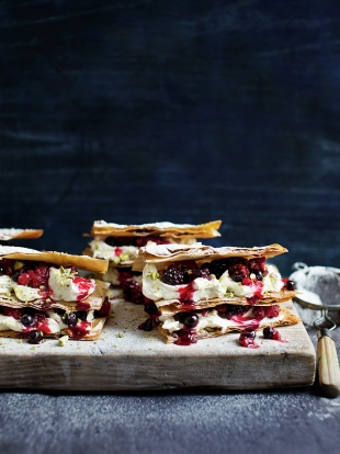 Super indulgent mixed berry filo millefeuille