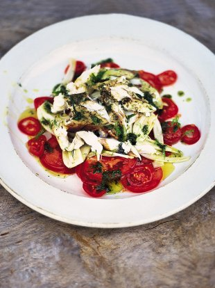Fantastic tomato and fennel salad with flaked barbecued fish