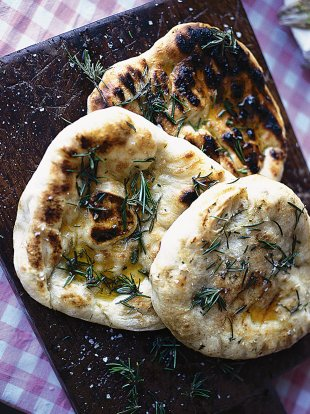 Grilled flatbreads with rosemary oil