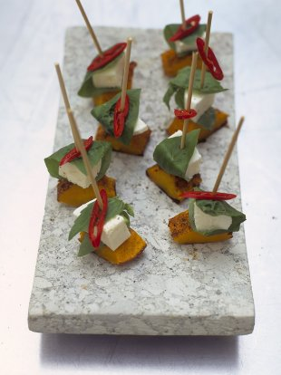 Mozzarella and squash skewers