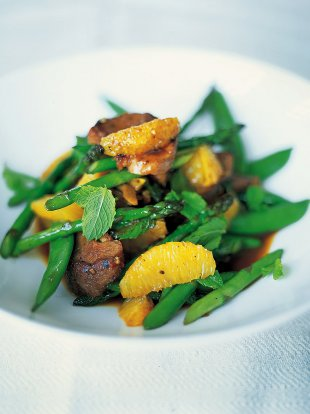 Stir-fried duck with sugar snap peas and asparagus