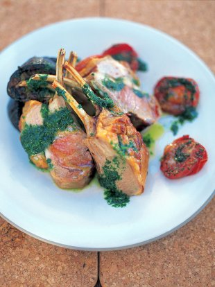 Tray-baked lamb with aubergines, tomatoes, olives, garlic and mint oil