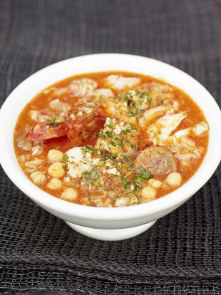 Spanish fish and chorizo soup