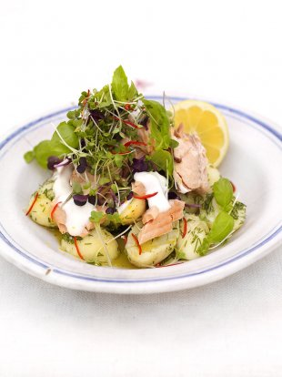 Warm salmon & Jersey Royal salad