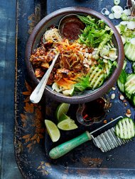 Vietnamese bun cha with sticky spicy tofu