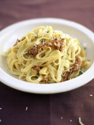 Parsnip and pancetta tagliatelle with parmesan and butter