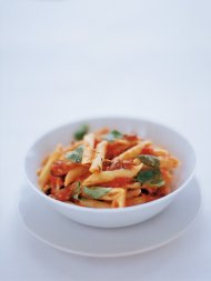 Penne with tomato, basil, olives and pecorino