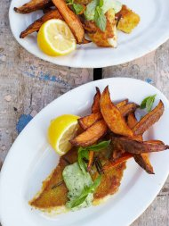 Pouting fish fingers, sweet potato chips & cheat's basil mayo