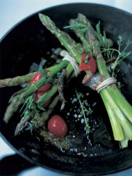Roasted asparagus with rosemary and anchovies wrapped in pancetta