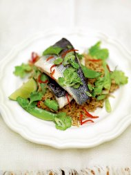 Steamed Thai-style sea bass and rice