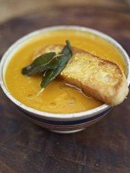 Superb squash soup with the best Parmesan croutons