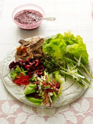 DIY crispy duck lettuce cups with cherries and mint