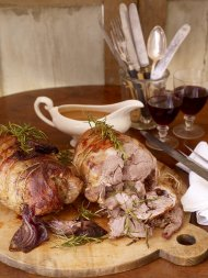Four-hour rolled shoulder of lamb with potato and celeriac smash and steamed veggies