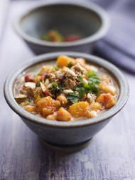 Chunky squash and chickpea soup