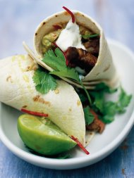 Steak and guacamole wrap