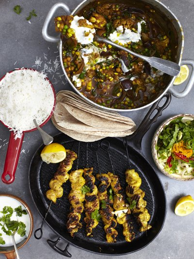Jamies great britain recipes jamie oliver roasted veg vindaloo with golden gnarly chicken skewers forumfinder