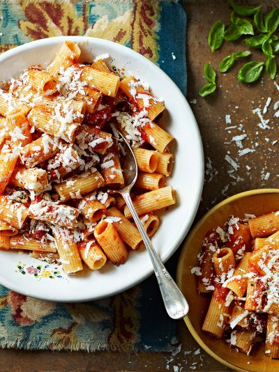 Rigatoni with roasted tomatoes & ricotta salata