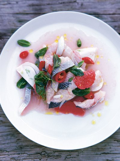 Sea bass, fennel & grapefruit ceviche