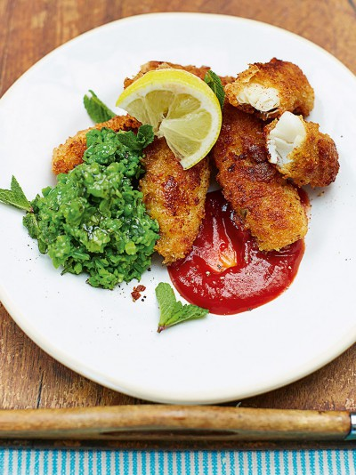 Cheap cheerful recipes jamie oliver kerryanns homemade fish fingers minty smashed peas forumfinder Image collections