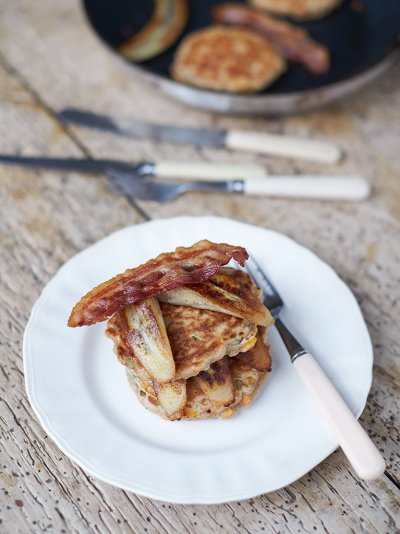 Healthy cheese & corn pancakes