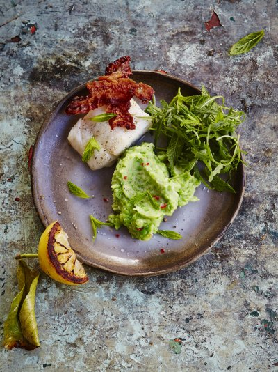 Roasted cod with pancetta & pea mash