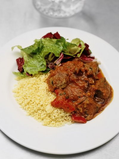 Mediterranean braised lamb and couscous