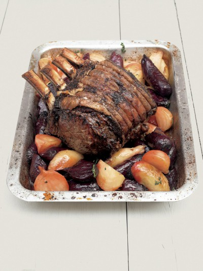 Roast forerib of beef with beetroot and horseradish