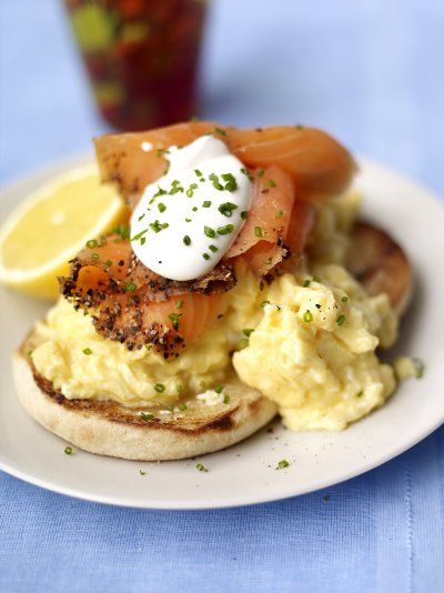 Christmas leftovers christmas jamie oliver scrambled egg muffins with smoked salmon and soured cream ccuart Choice Image