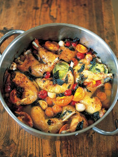 Jamies dinners recipes jamie oliver tender and crisp chicken legs with sweet tomatoes forumfinder Image collections