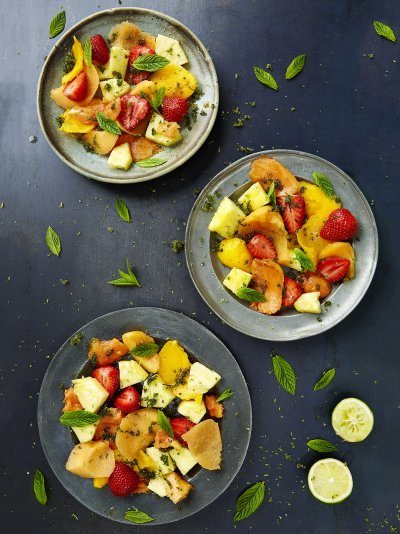 Mint caipirinha fruit salad