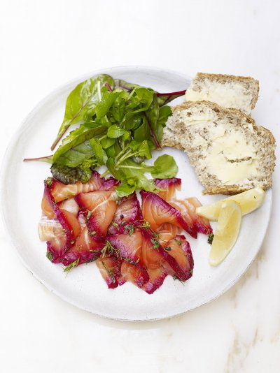 Home-cured beetroot gravadlax