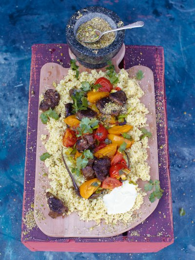 Quick lamb tagine with pan fried aubergine & cumin crunch