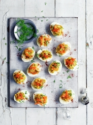 Salmon devilled eggs