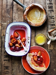 Dutch baby pancakes with roasted plums