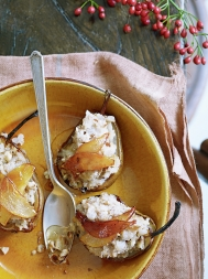 Roasted pear with walnut & ginger filling