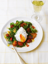 Kale, fried chorizo & crusty croutons with a poached egg