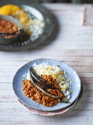 Yellow split pea & aubergine stew
