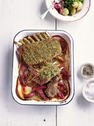 Crusted lamb rack with rhubarb