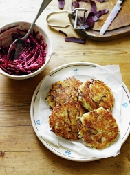 Potato rostis with beetroot horseradish