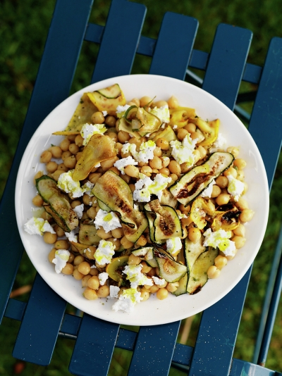 Grilled courgettes with chickpeas & marjoram