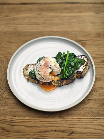 Herby smoked salmon poached eggs image