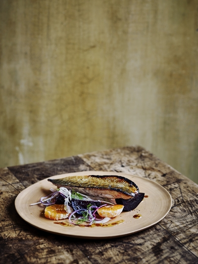 Pomegranate-glazed mackerel with satsuma & fennel salad