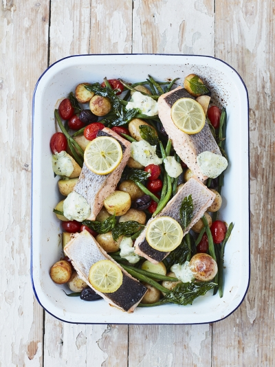 Roasted salmon & summer veg traybake