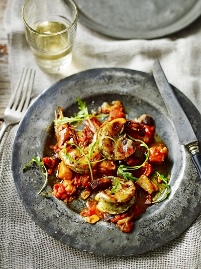 Charred prawns in a sweet aubergine sauce