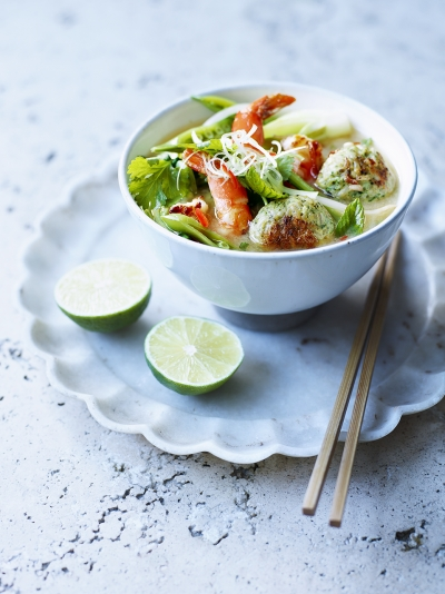 Asian chicken rice balls & broth