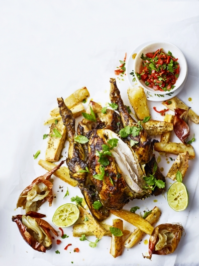 Cachaça roasted chicken with cassava chips