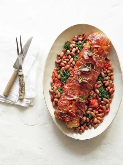 Jamon-wrapped cod with borlotti bean stew
