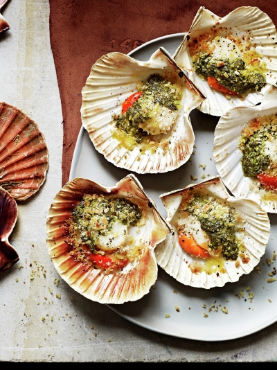 Romantic recipes jamie oliver grilled scallops with anchovy mint coriander forumfinder Image collections